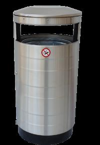 Edelstahl Abfallbehälter 70L - Ascher Kombination | comodul BARREL A2