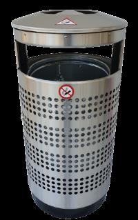 Edelstahl Abfallbehälter 70L - Ascher Kombination | comodul RONDO A2