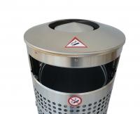 comodul RONDO A2 | 70L Edelstahl Abfallbehälter - Ascher Kombination